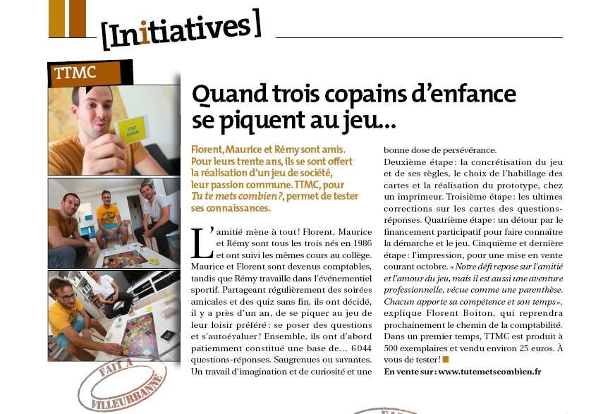 Notre première parution presse dans le magazine de la ville de Villeurbanne